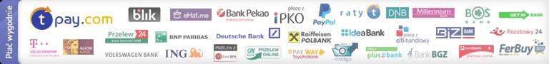 Umożliwiamy szybkie płatności internetowe za pomocą serwisu Transferuj.pl, do wyboru jest aż 40 banków i płatności kartami VISA/MASTERCARD
